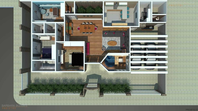 Excepcional Projetos De Casas Terreas Com 3 Quartos Gratis. Planta De Casa  YE67