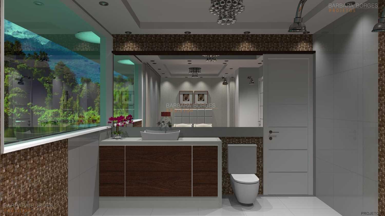Para Banheiros Banheiros Pequenos E Baratos Banheiro Moderno Pequen  #244C5D 1500 844