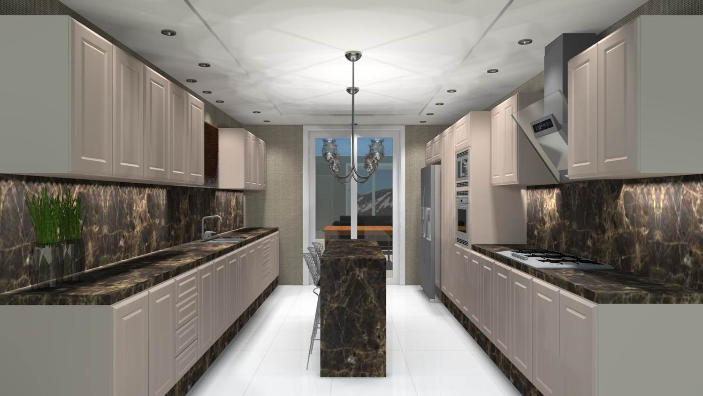 #4B6780 Projetos de Cozinhas Barbara Borges Projetos 3D 1498x843 px Projetos De Cozinhas Externas Pequenas #565 imagens