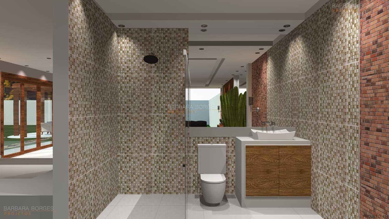 Projetos de Banheiros Barbara Borges Projetos 3D #8D563E 1500 844