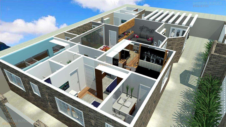 Plantas de Casas Modernas Rústicas e Coloniais. Casas com Piscinas e #0E62BD 1500 844