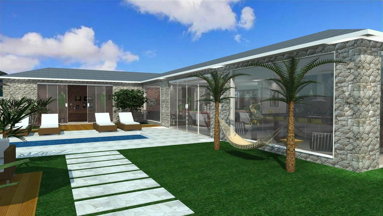 #1D59AE Projetos de Edículas Barbara Borges Projetos 3D 1498x843 px Projetos De Casas Com Cozinha Nos Fundos #187 imagens