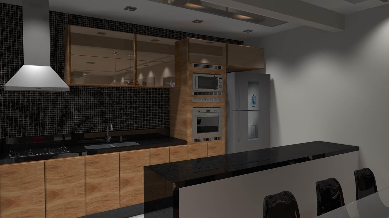 Projetos de Cozinhas Barbara Borges Projetos 3D #7A5D43 1500 843