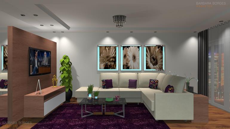 Projeto de Decoração de Interiores e móveis sala de tv