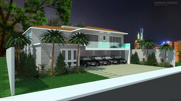 plantas de casas com telhado quatro carros