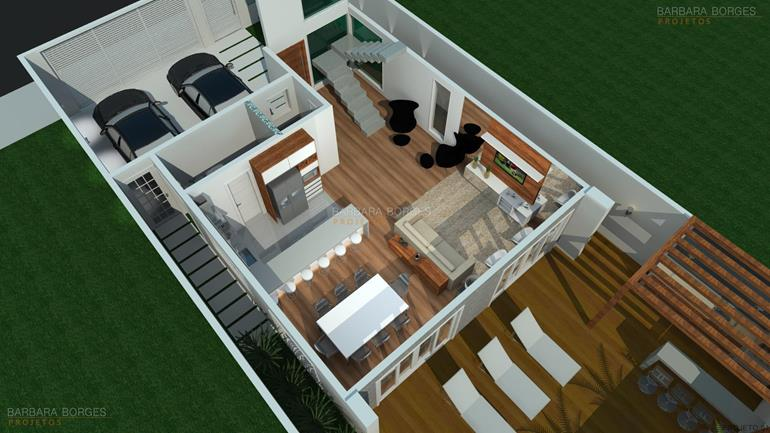 Plantas de casas e plantas 3d barbara borges projetos for Modelo de casa en 3d
