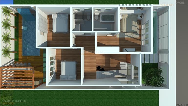 Plantas casas modernas barbara borges projetos for Casa moderna 80m2