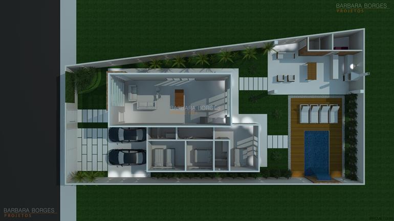planta casa terrea contemporanea barbara borges projetos