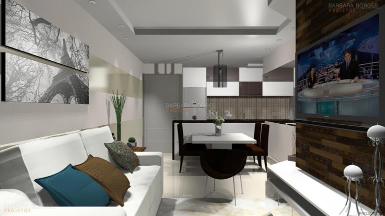 sala de estar com sala de jantar Iluminada Elegante Opcao 2