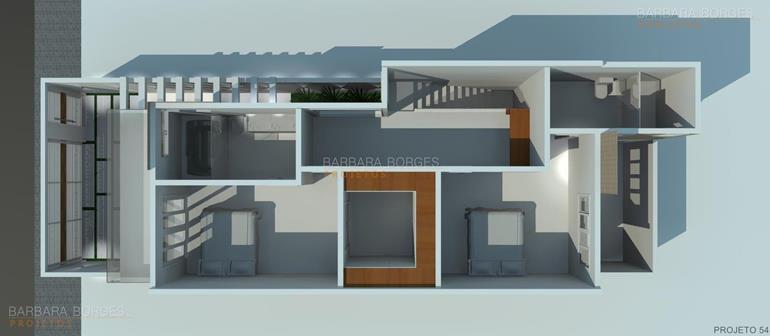 sala de jantar branca Planta casas 3 quartos