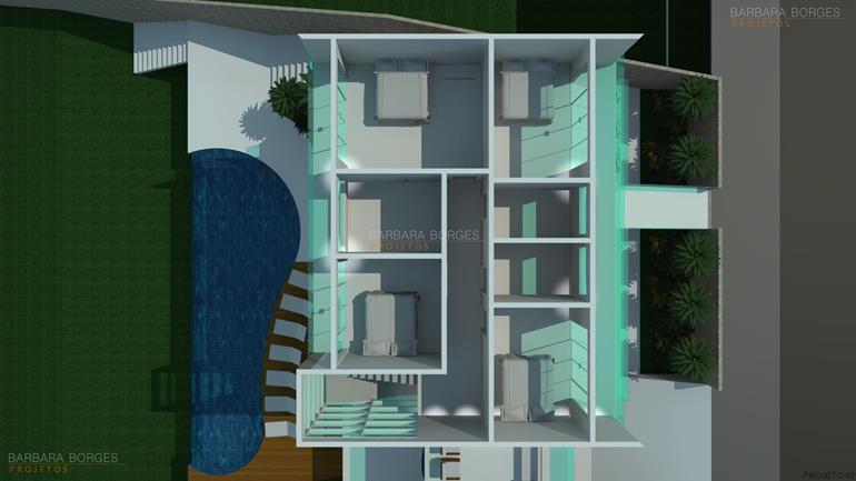 sala de jantar simples Planta casas 3 quartos