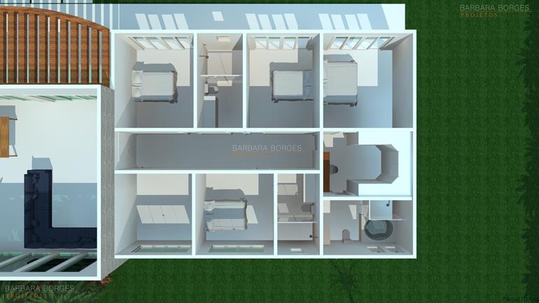 sofá para varanda Planta casas 3 quartos
