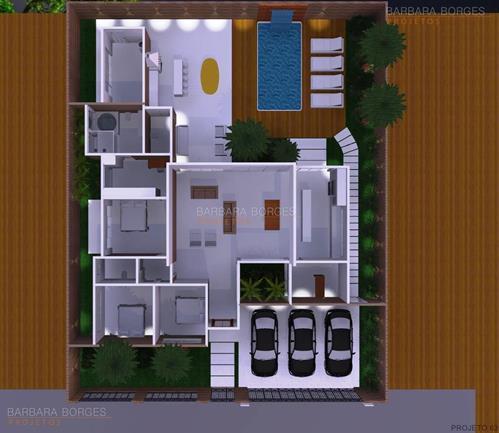 ediculas projetos Planta casas 3 quartos