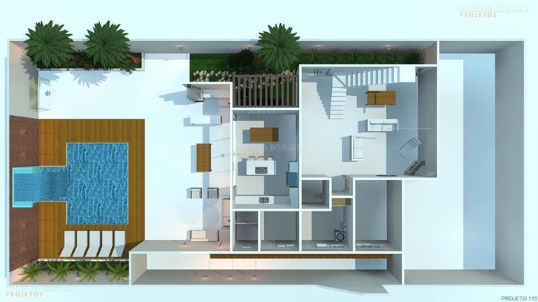 arquitetura 3d Plantas casas 3 quartos