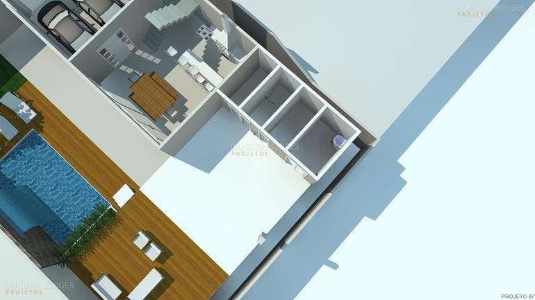 banco de madeira para varanda Plantas casas 3 quartos