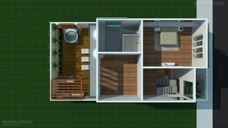 Plantas casas 3 quartos