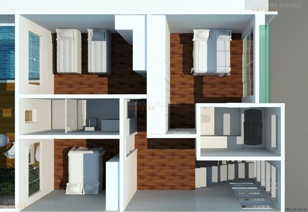 banheiros pastilhas Plantas casas 3 quartos