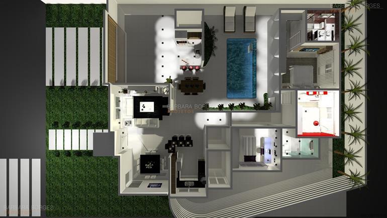 decoração ambientes Projeto Casa Popular Economica