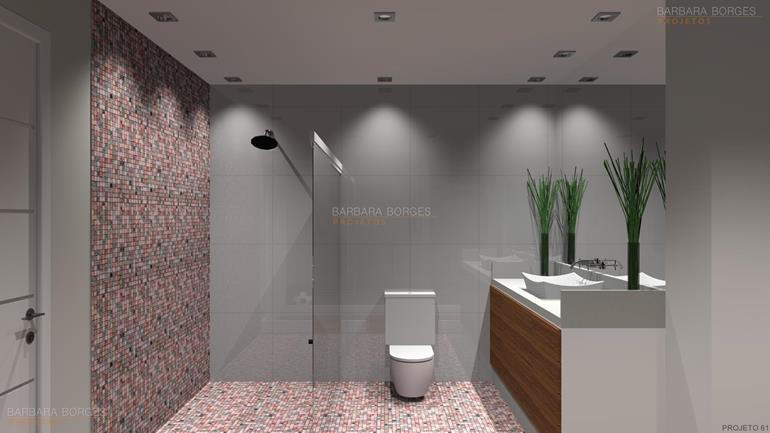 Banheiros Pequenos Decorados  Barbara Borges Projetos -> Banheiro Pequeno Projeto