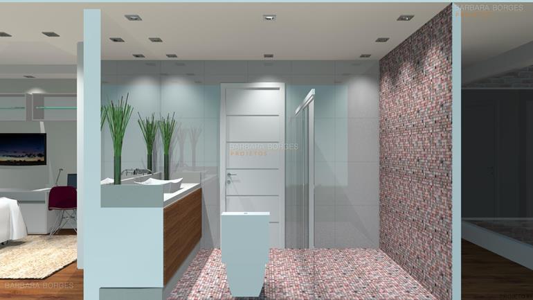 Banheiros Pequenos Planejados  Barbara Borges Projetos # Banheiro Pequeno Projeto