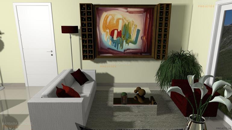 móveis projetados cortinas sala