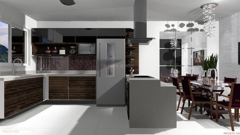 projetos de interiores cozinha planejada americana