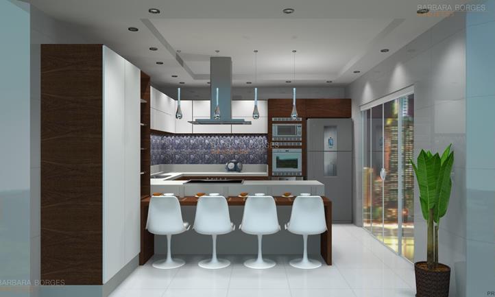 projetos de kitinetes cozinhas americanas planejadas