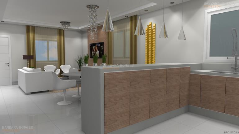 projeto em 3d cozinhas americanas planejadas