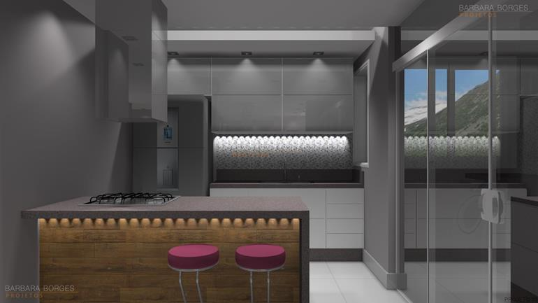 Decoraçao Para Apartamento cozinhas planejadas pequenas