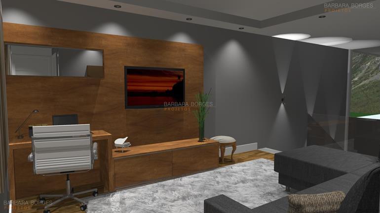 sala de estar com sala de jantar home office decoração