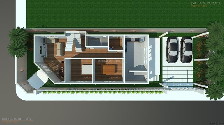 Planta Casa Design Moderno Barbara Borges Projetos