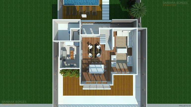 plantas 3d planta casa fachada madeira