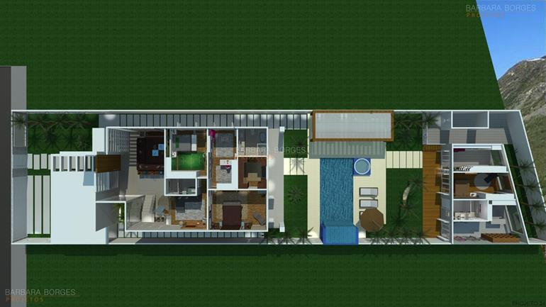 projeto de casa 3 quartos planta casa fachada tijolinho