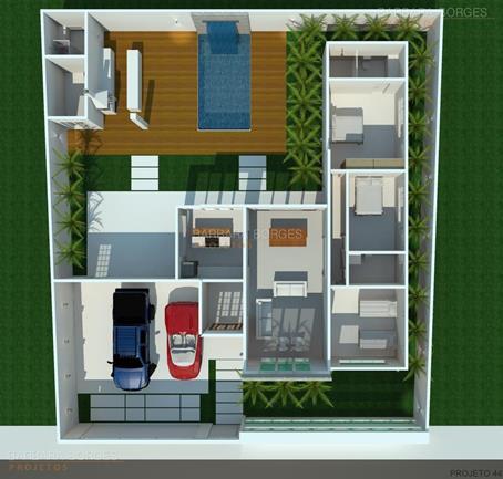 quarto de criança menina planta casa popular 46 m2