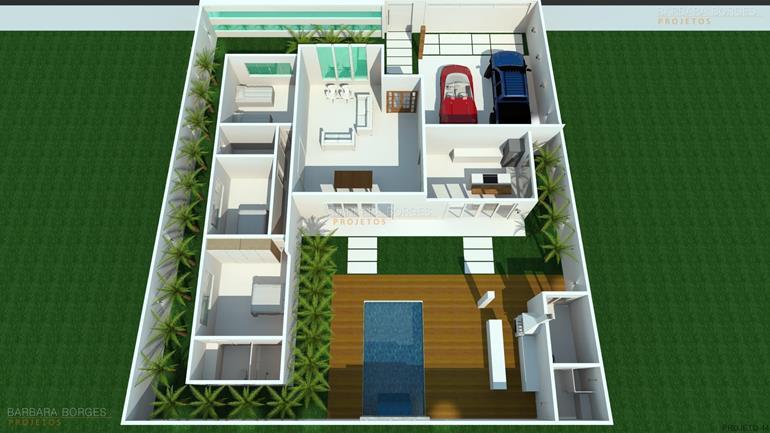 quarto infantil menino e menina planta casa simples garagem