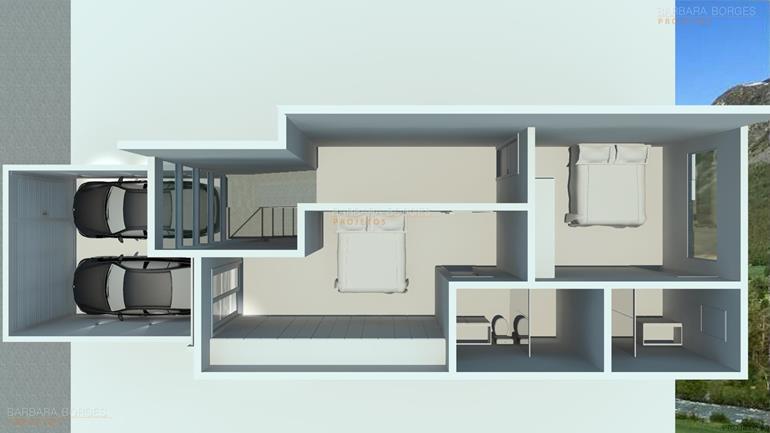 planta casa simples garagem
