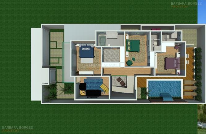 quartos planejados infantil planta casa simples garagem
