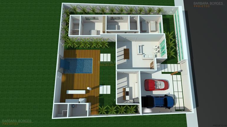 Planta casa simples moderna barbara borges projetos for Casas modernas simples