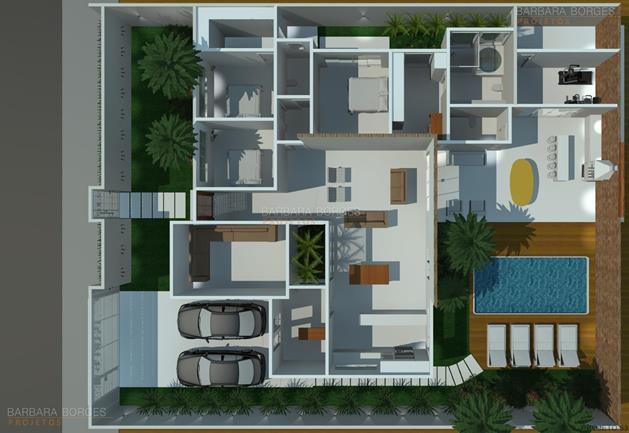 sala de jantar branca planta casa telhado aparente