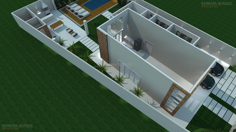 Planta Casa Terrea 3 Quartos | Barbara Borges Projetos
