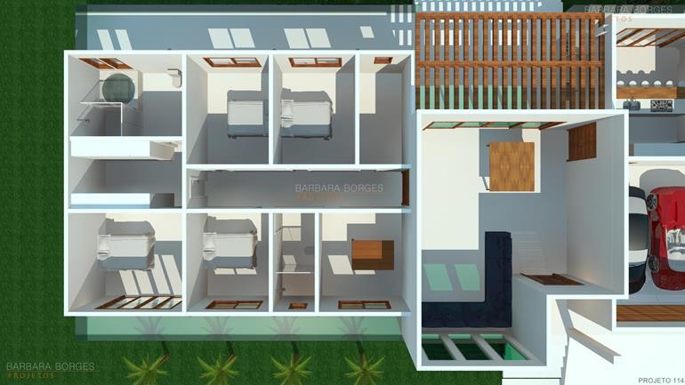 sala de jantar branca planta casa terrea escritorio