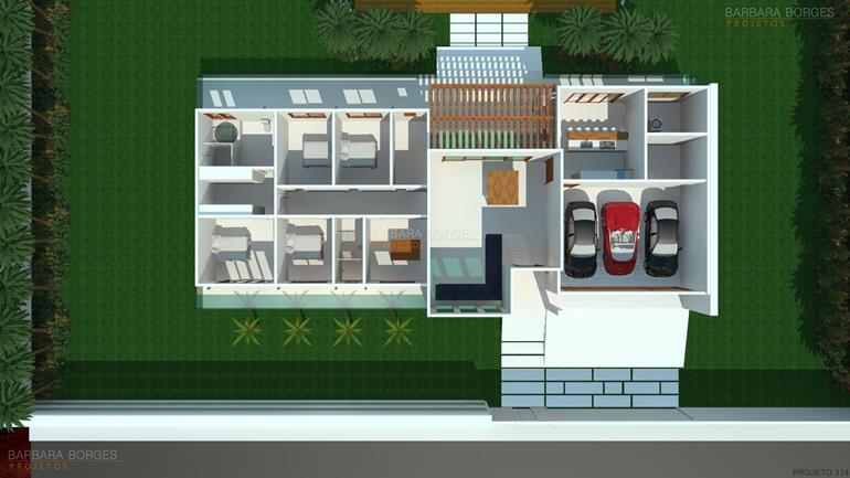 sala de jantar pequena decorada planta casa terrea garagem ampla