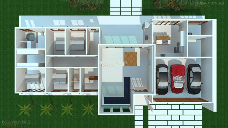 sala jantar pequena planta casa terrea telhado embutido