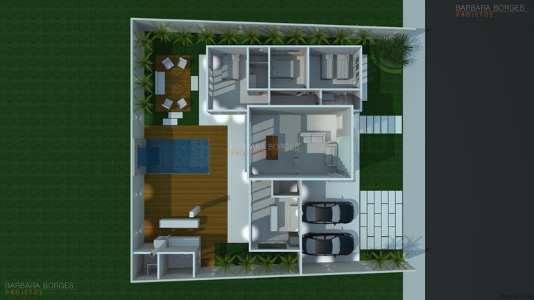 sala de jantar 6 lugares planta casa tijolo vista