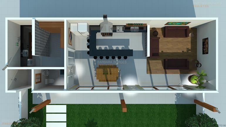 sites de decoração de interiores planta casa tijolo vista