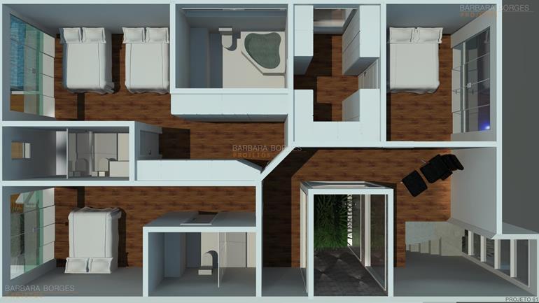 armário para quarto planta sobrado moderno pergolado