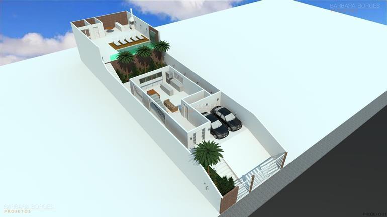 area de lazer residencial planta sobrado telhado embutido