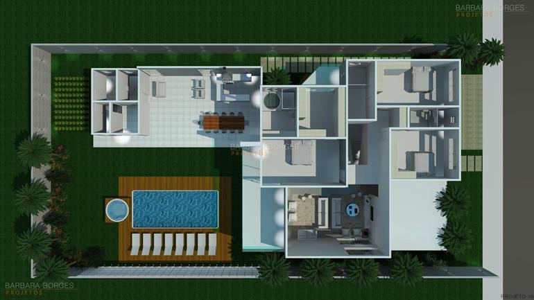 Plantas terreno 12x25 barbara borges projetos for Casa moderna 4 ambientes