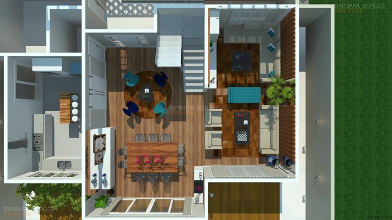 cozinha linear plantas terreno 8x20