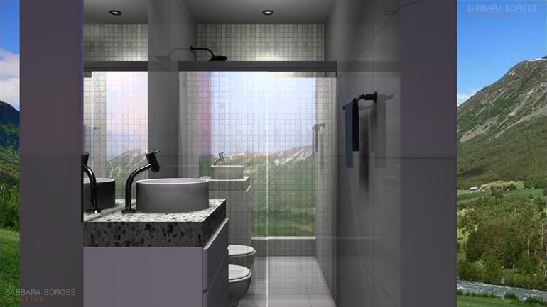 idéias de decoração projetos banheiros pequenos